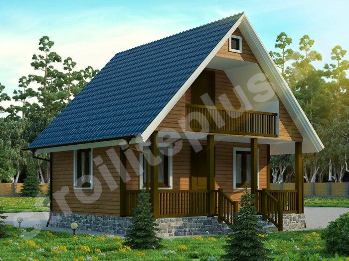 Проект дома из бруса с балконом..