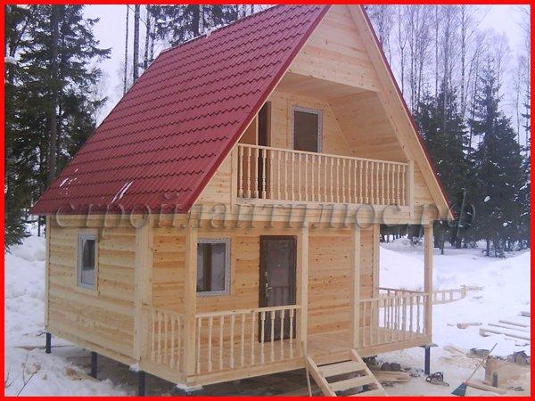 """Проект бани из бруса с балконом и террасой 6х6 """"полисть-2"""" с."""