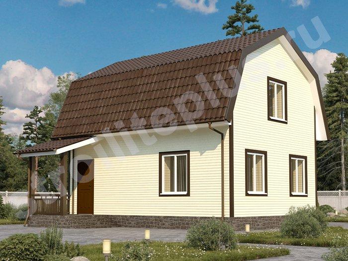 """каркасный дом 6х8 с мансардой и террасой проект """"Череповец"""""""